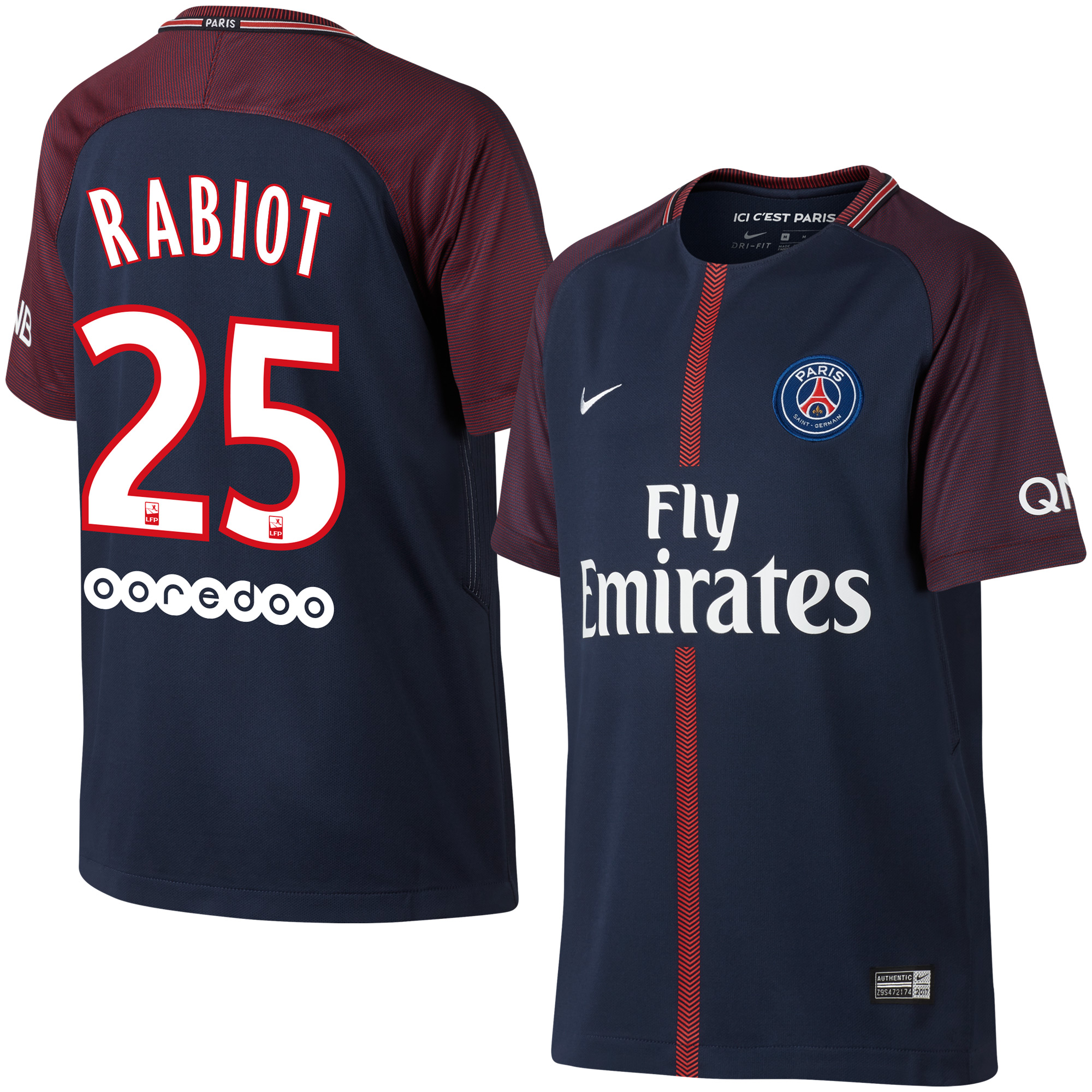 PSG Home Rabiot Jersey 2017 / 2018 + Sponsor (Official Player Printing) - XXL