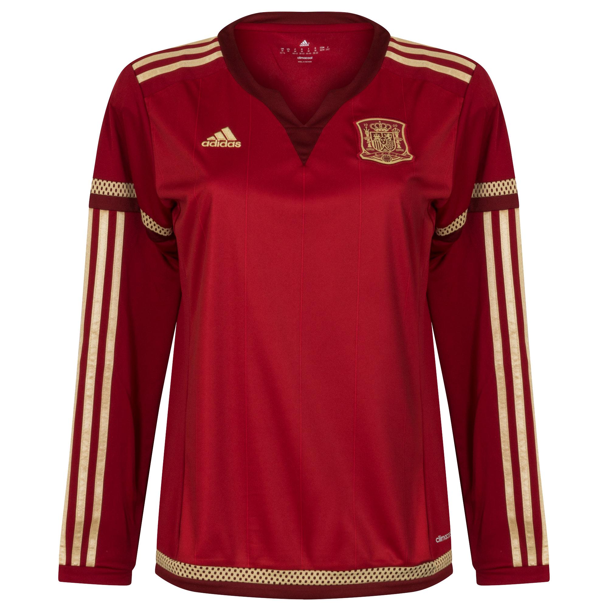 Spanje Dames Shirt Thuis 2014-2015 (Lange Mouwen)