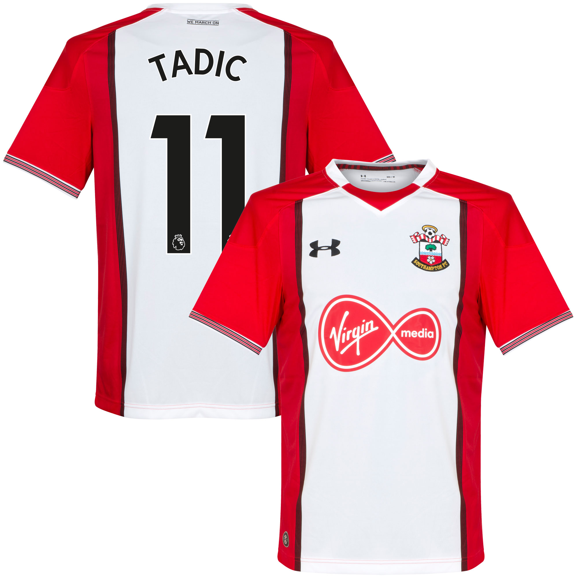 Southampton Home Tadic Jersey 2017 / 2018 (Authentic EPL Printing) - XL
