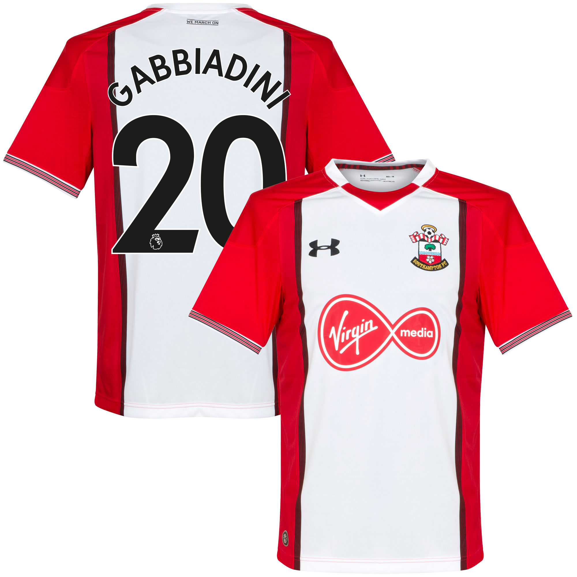 Southampton Home Gabbiadini Jersey 2017 / 2018 (Authentic EPL Printing) - XL