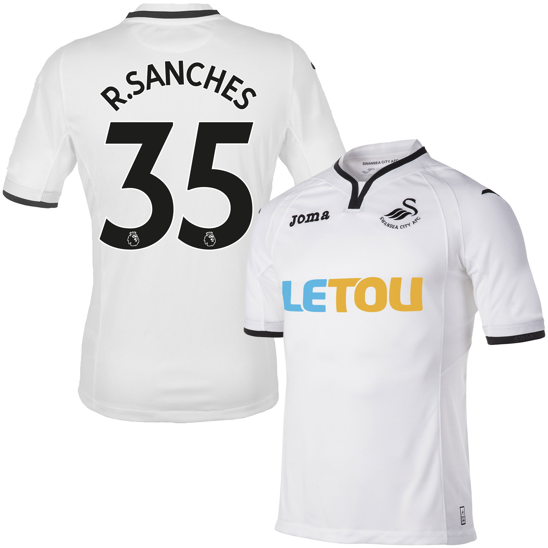Swansea City Home R. Sanches Jersey 2017 / 2018 (Authentic EPL Printing) - S