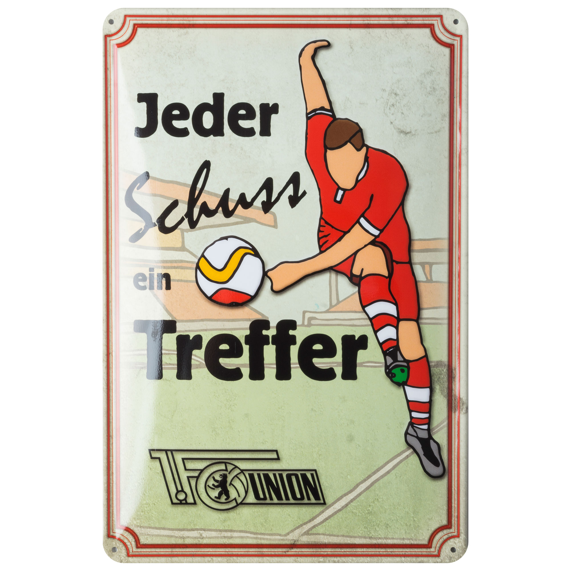 Metalen bord over de voetbalclub union berlin dit metalen bord bevat de tekst jeder schuss