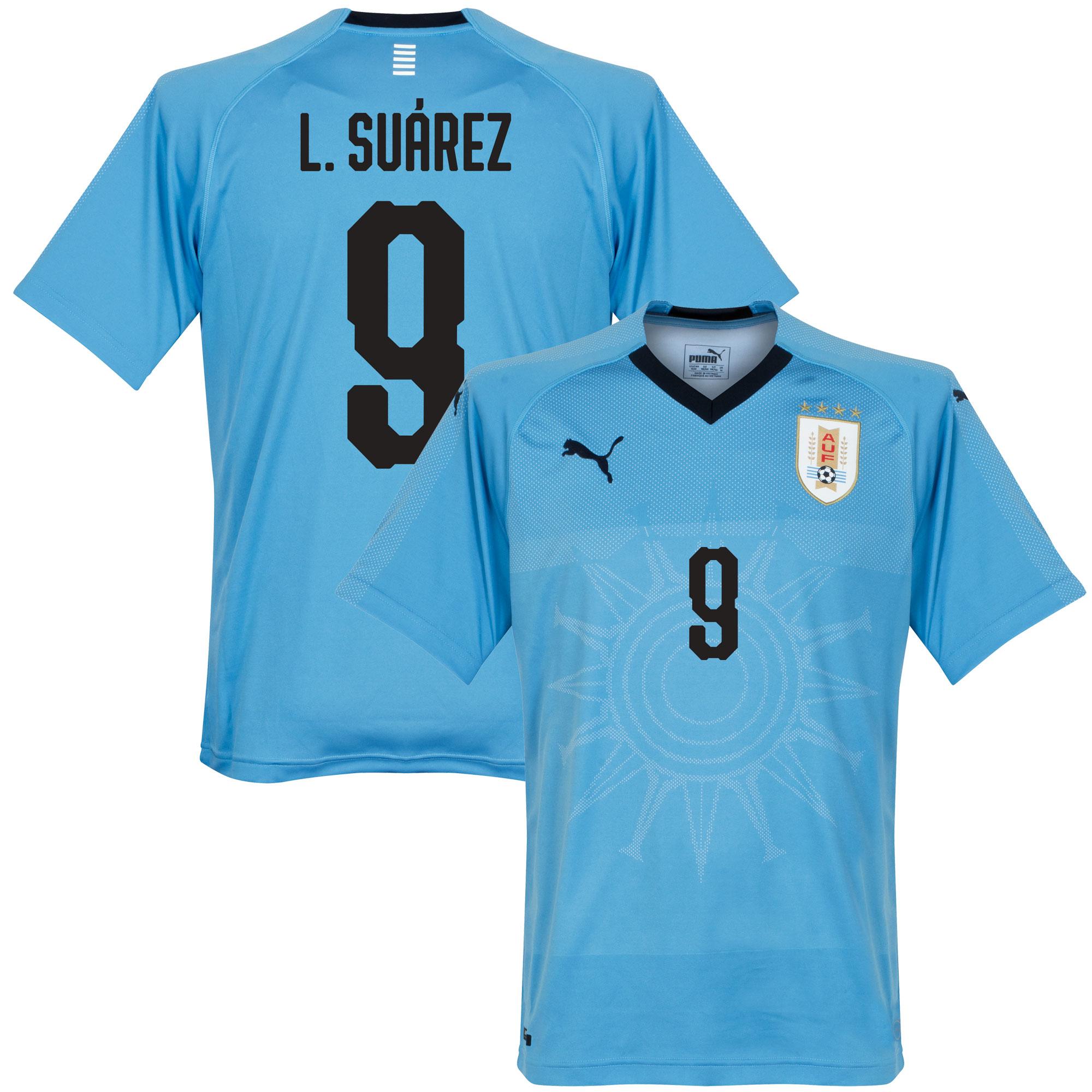 Uruguay Home Suárez Jersey 2018 / 2019 (Fan Style Printing) - L