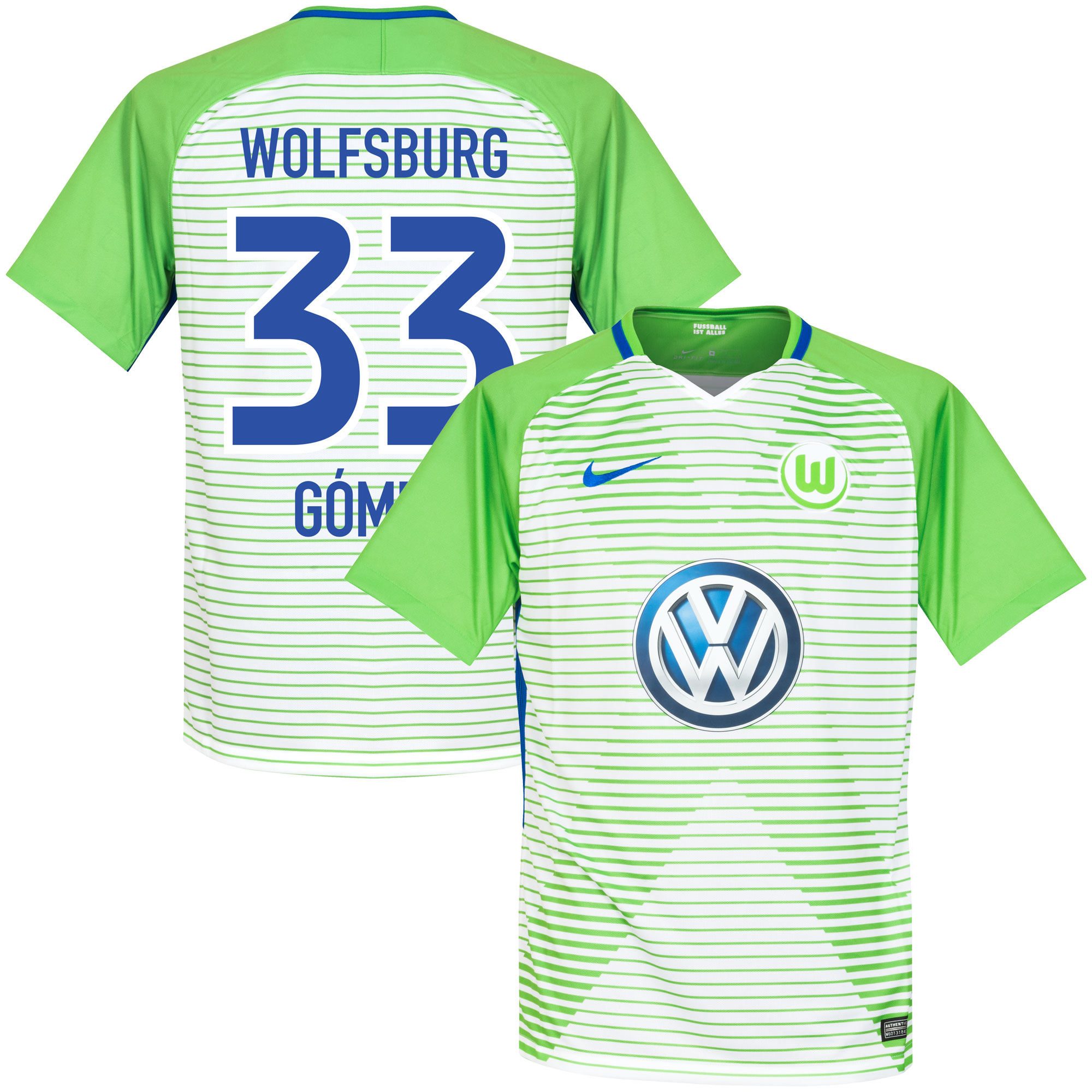 VfL Wolfsburg Home Gomez Jersey 2017 / 2018 (Fan Style Printing) - S