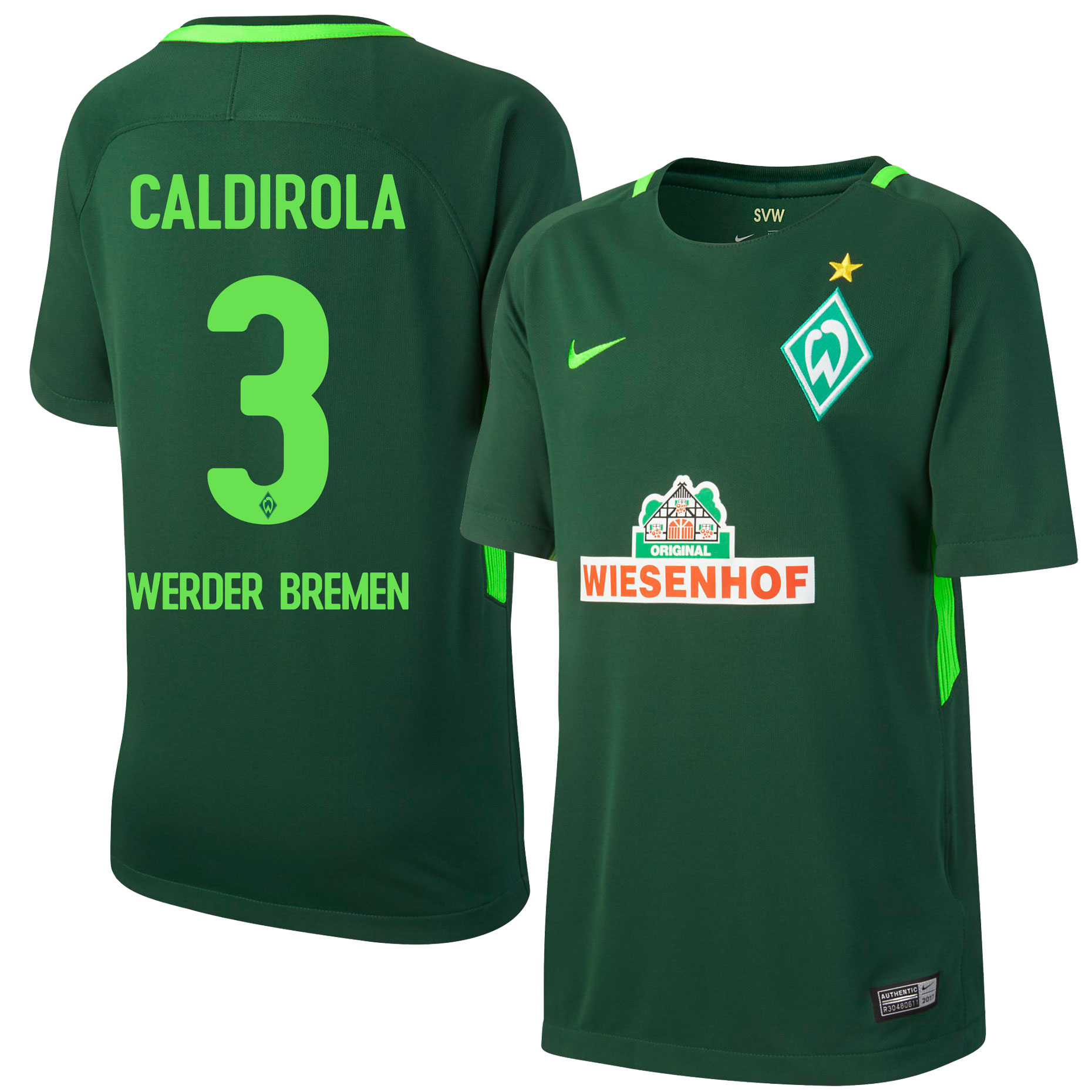 Werder Bremen Home Caldirola Jersey 2017 / 2018 (Official Printing) - L