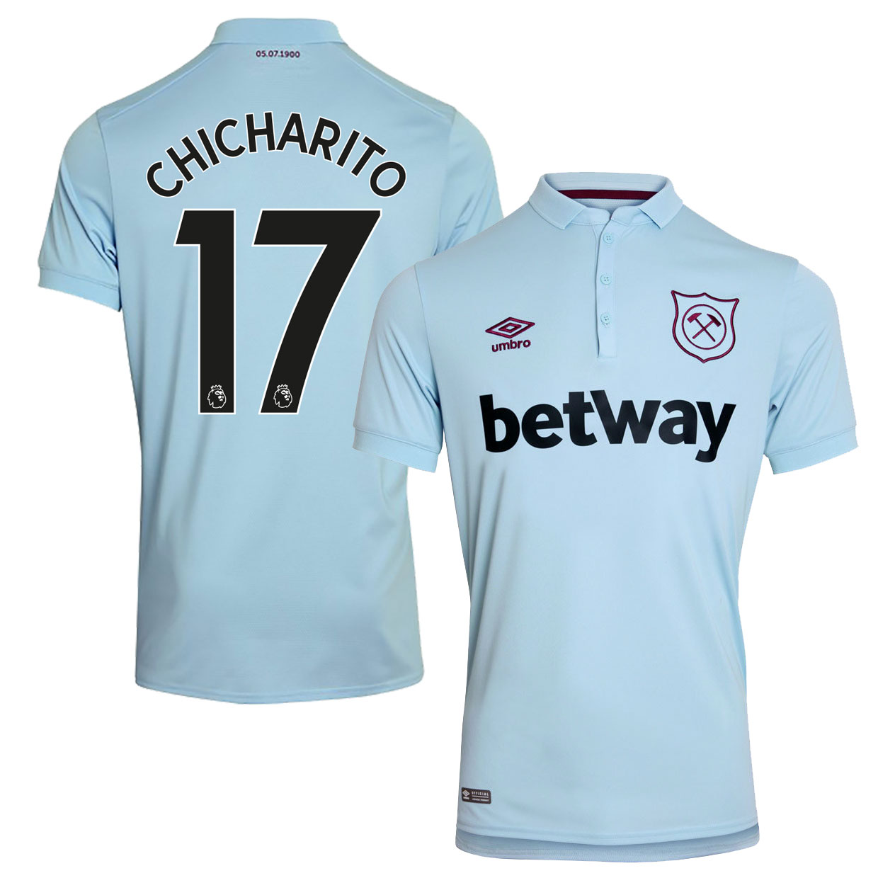 West Ham United 3rd Chicharito Jersey 2017 / 2018 (Authentic EPL Printing) - M