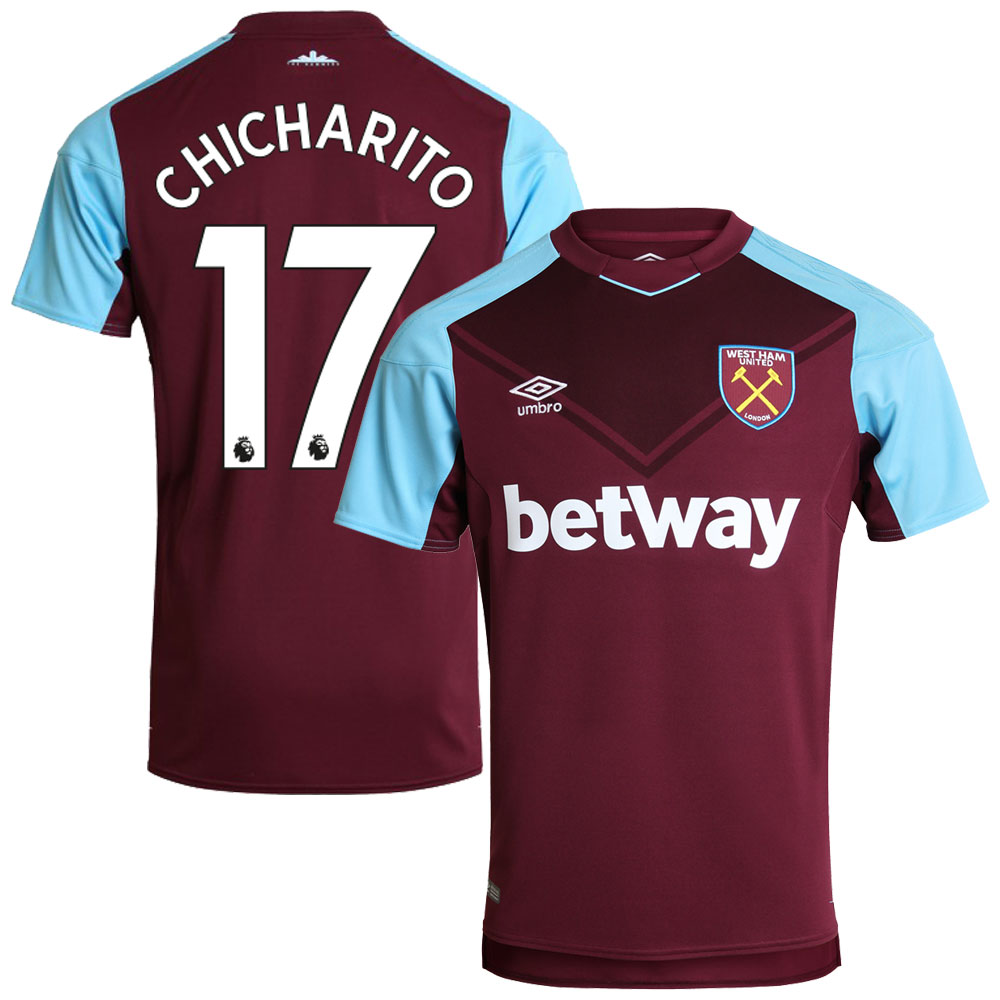 West Ham United Home Chicharito Jersey 2017 / 2018 (Authentic EPL Printing) - XXL