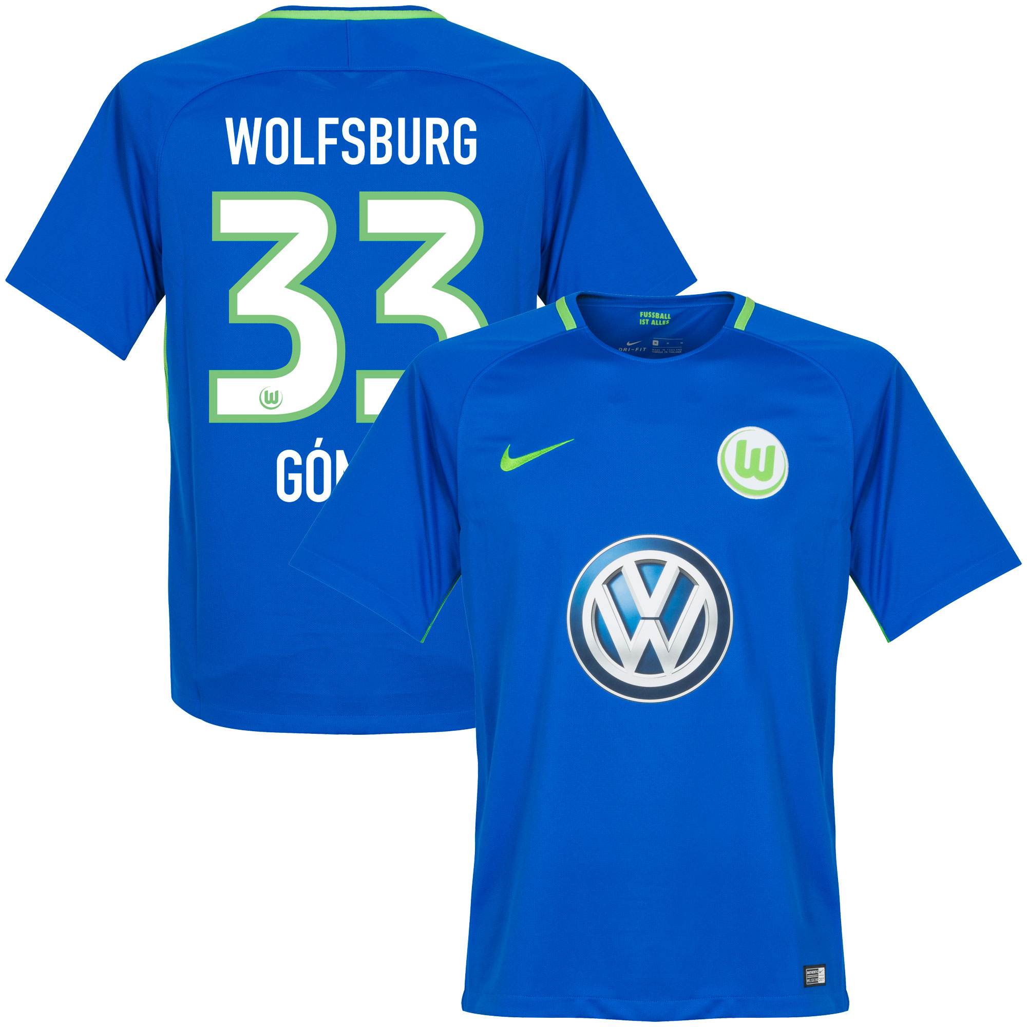 VfL Wolfsburg Away Gomez Jersey 2017 / 2018 (Official Printing) - L
