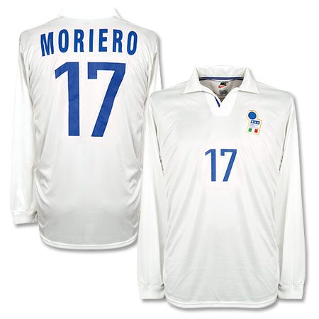 98-99 Italy Away L/S Players Jersey + Moriero 17 - No Swoosh - L
